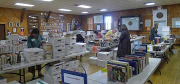 setting up for the book sale
